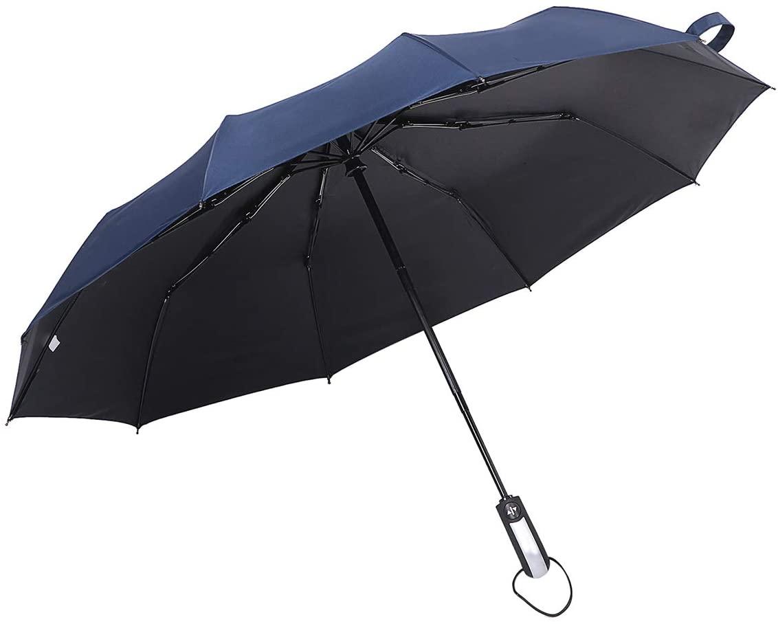 10 Ribs Windproof Travel Umbrella Compact Automatic Open Close Folding Umbrella Portable Umbrellas with Ergonomic Handle, Navy Blue