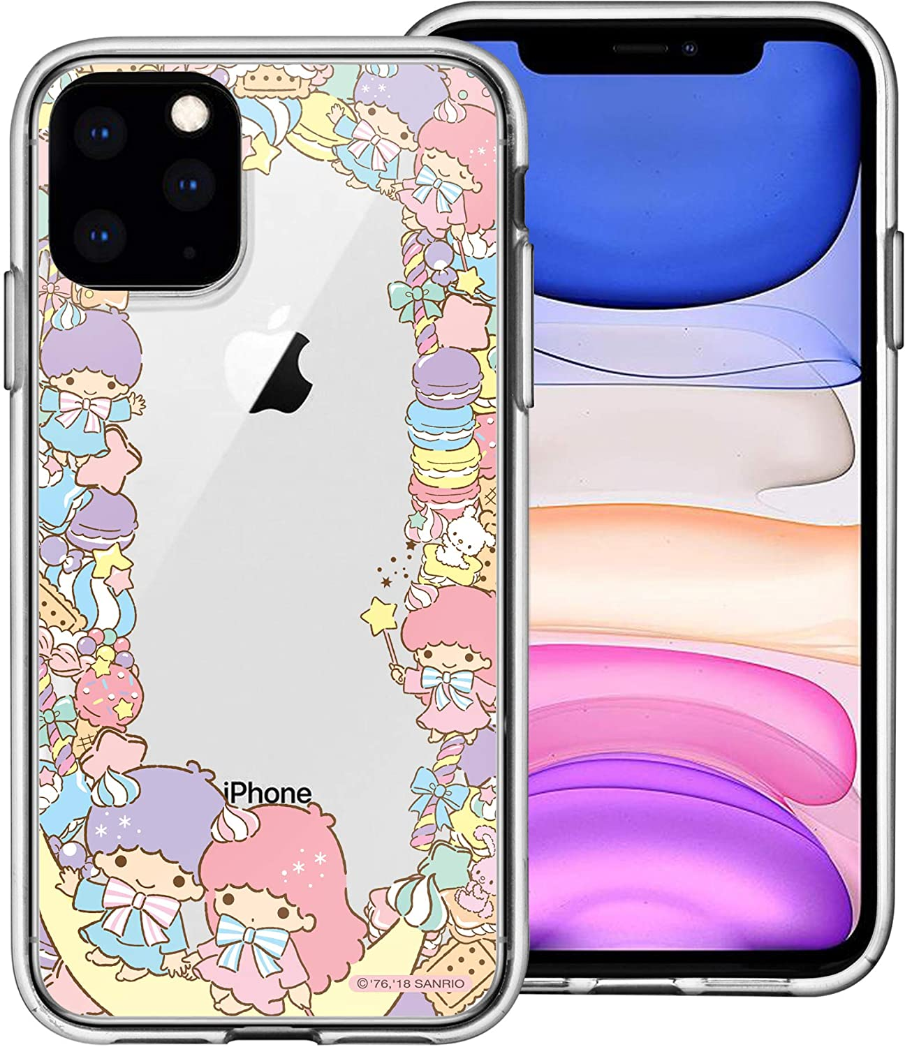 iPhone 11 Case Sanrio Cute Border Clear Jelly Cover [ iPhone 11 (6.1inch) ] Case - Dessert Little Twin Stars
