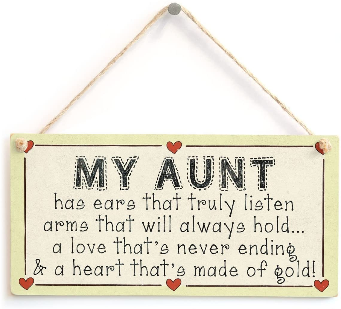 Meijiafei My Aunt…has a Heart That's Made of Gold! - Auntie Heart of Gold Gift Love Heart Sign 10