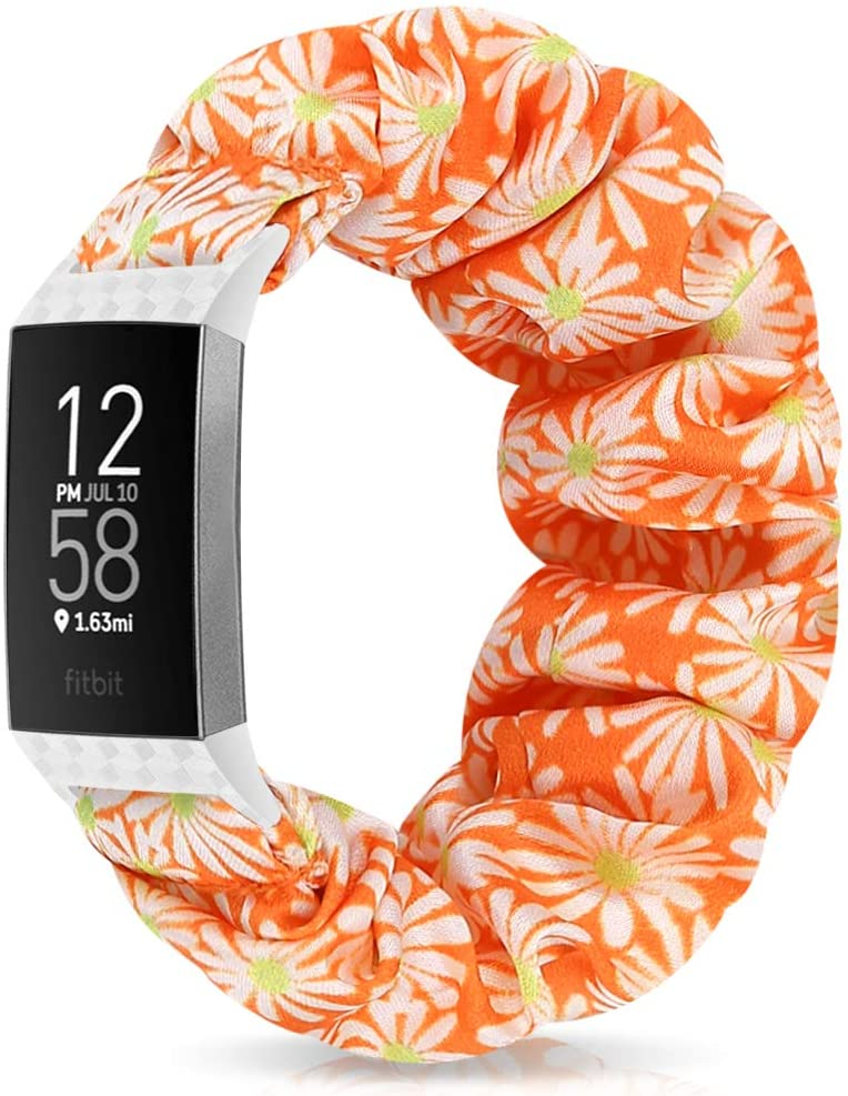Relting Compatible with Fitbit Charge 4/Charge 3 Watch Band, Soft Scrunchie Elastic Cloth Fabric Replacement Wristband for Fitbit Charge 3 SE for Women Girls (Medium, Color-1)