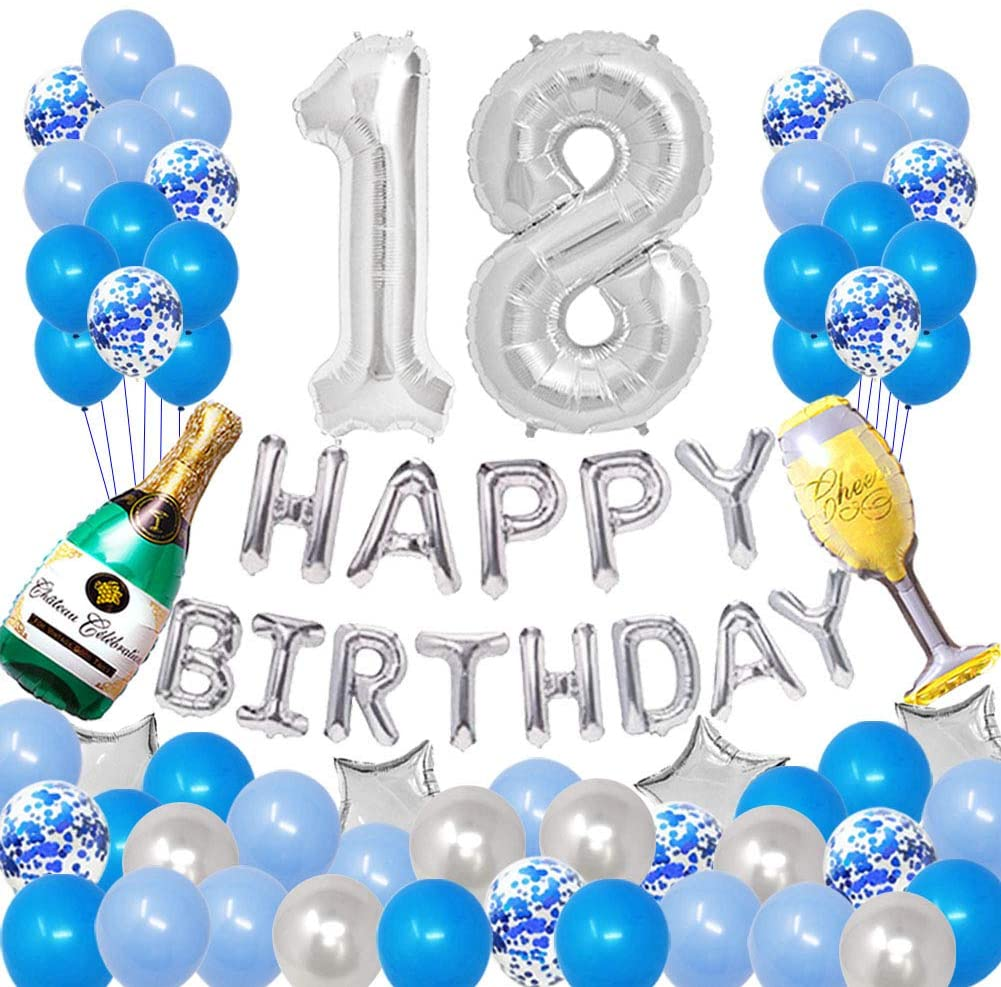 Pertlife Happy 18TH Birthday Party Decorations Pack-Blue Silver Theme, Happy Birthday Banner Foil Number 18 12inch Silver Confetti Balloons, Latex Balloons(Blue and Silver)