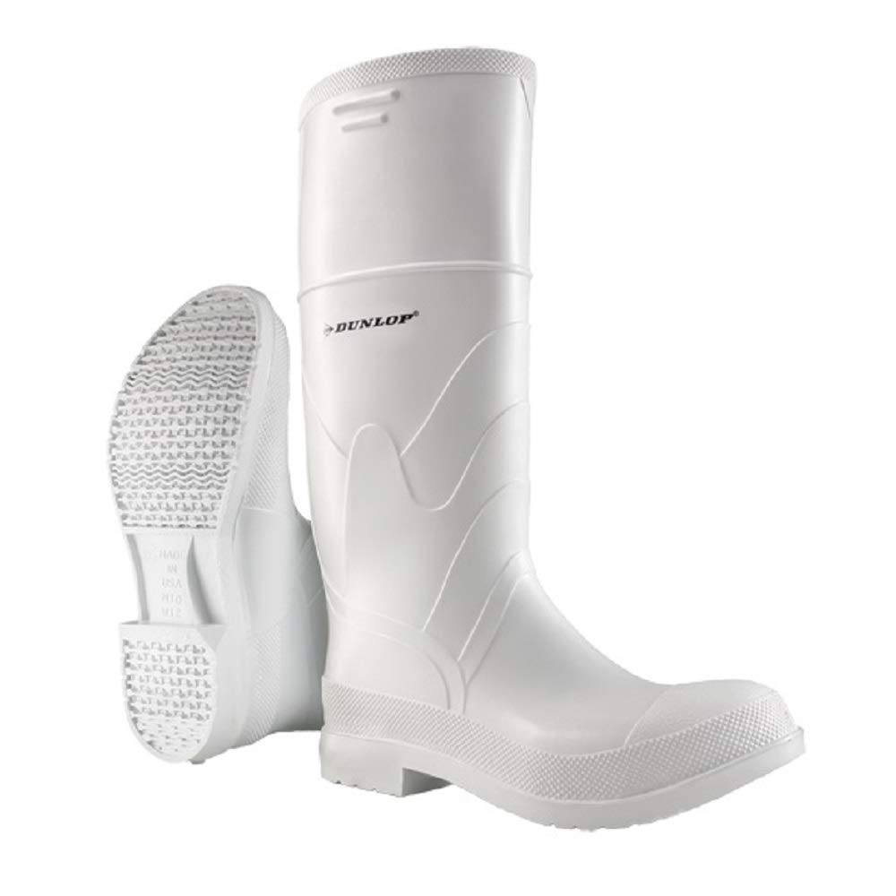 Dunlop 8101109 White PVC Boots, 100% Waterproof PVC, Lightweight and Durable Protective Footwear, Slip-Resistant, Size 9