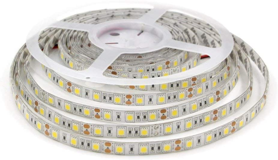 LEDMY DC12V Flexible Led Strip Light,SMD5050,300Leds,72W, 5M/16.4FT, IP62 Easy Waterproof Tape Lights, Daylight White 4000K for Kitchen, Bathroom, Under Cabinet Indoor Lighting.