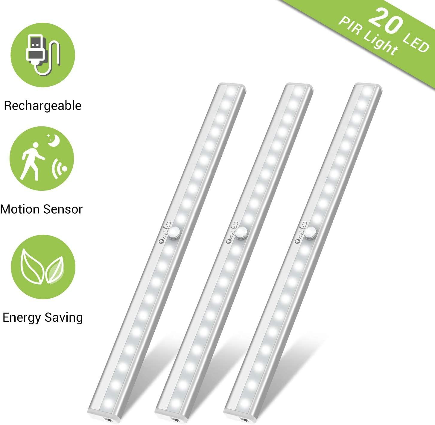 Under Cabinet Lighting, Motion Sensor Closet Lights OxyLED 20 LED USB Rechargeable Under Cabinet Lights Wireless Under Counter Lighting, Motion Led Light Bar for Closet, Cabinet (T-02S, 3 Pack)