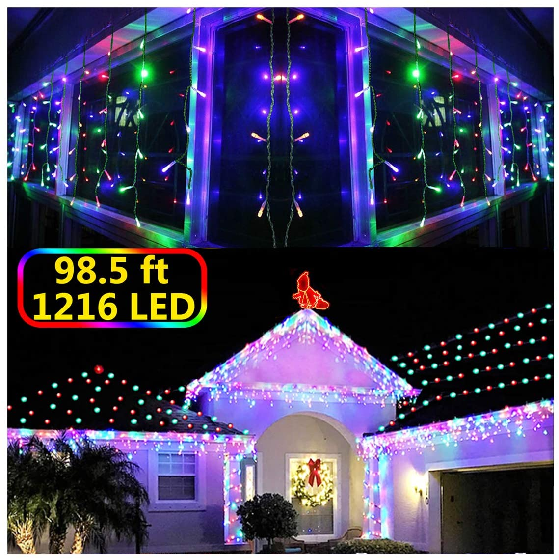 KNONEW LED Icicle Lights, 98ft 1216 LED, 8 Modes, Curtain Fairy Light Clear Wire LED String Decor for Christmas/Thanksgiving/Easter/Halloween/Party Backdrops Decorations (Multicolor)