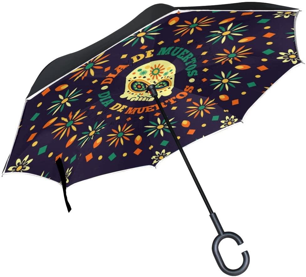 OREZI Skull and FlowerInverted Umbrella Double Layer Reverse Umbrella Windproof UV Protection C-Shaped Self-Stand Umbrella for Car Rain Outdoor Travel Woman Man