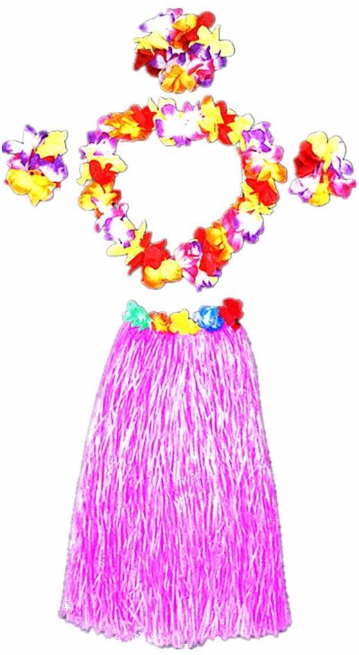 Hawaii Dancing Hula Set Grass Skirt Adult Costume Suit(Skirt color:pink,thicken)