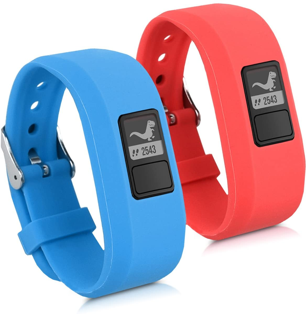 kwmobile Watch Strap Set Compatible with Garmin Vivofit jr. / jr. 2-2X TPU Silicone Fitness Tracker Sports Band - Size Small (S)