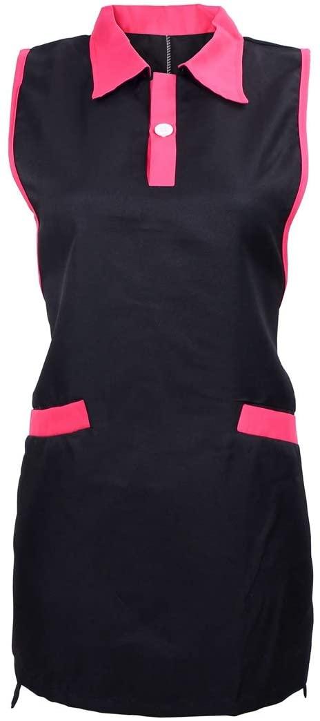 Surrui Hair Stylist Salon Smock Aprons with Pockets Hairdresser Apron Waitress Sleeveless Vest Work Wear Black