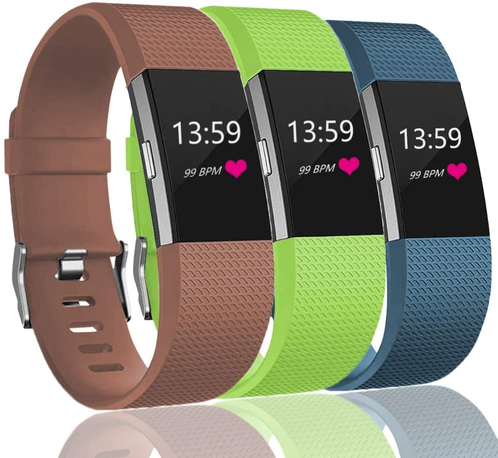 VINIKI Sport Bands Compatible with Fitbit Charge 2 Special Edition Adjustable Sport Wristbands (Brown/Green/Slate, Large Size)
