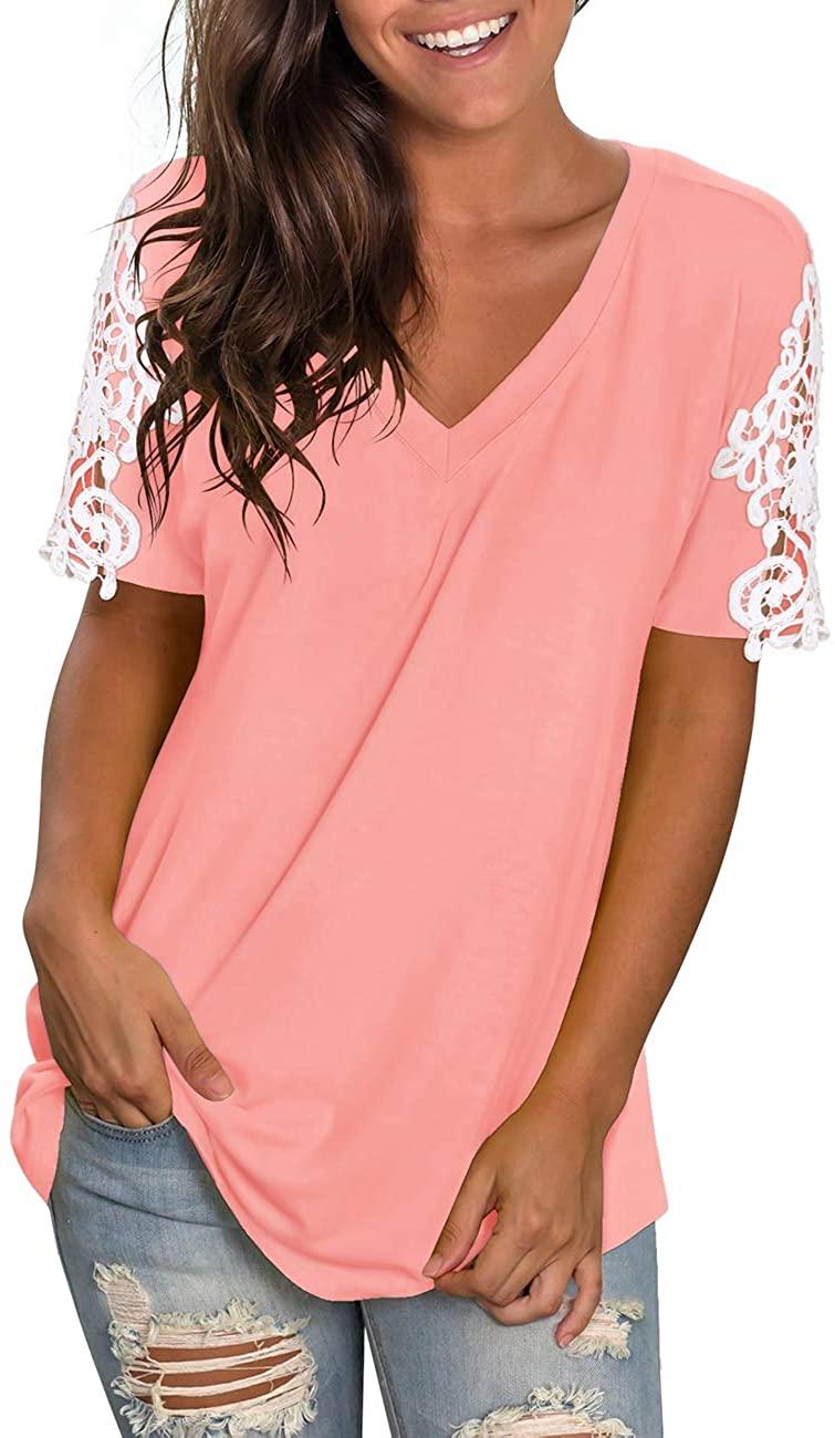 NIASHOT Womens Shirts V Neck Short Sleeve Lace Tunics Casual Losse Tops