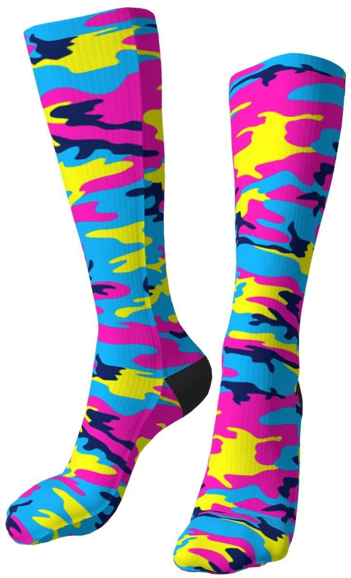 Camouflage Compression Socks for Women and Men Running Socks Knee Hi Caped Fun Socks Best for Running Flight Travel Cycling Nurse Best Athletic Circulation Recovery