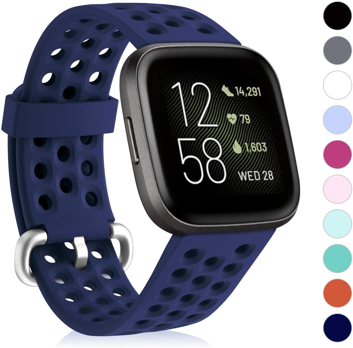 CAVN Sport Bands Compatible with Fitbit Versa 2 / Versa/Versa Lite Bands for Women Men, Soft Waterproof Breathable Silicone Replacement Smart Watch Strap, Navy Blue, S(5.1-7.9in)