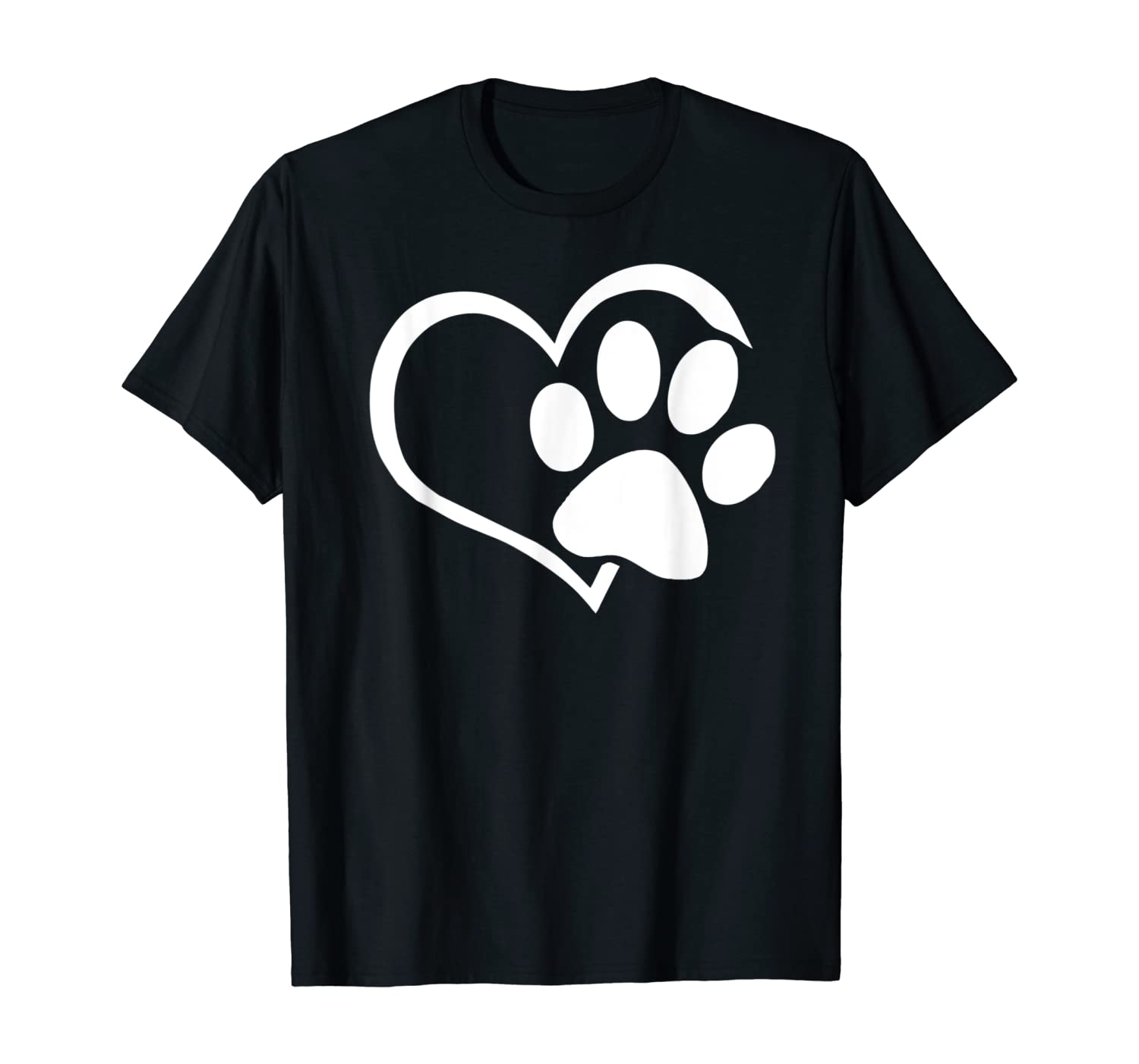 Dog Dad Mom Puppy Shirt Love Dogs Paw Print Heart Women Men T-Shirt