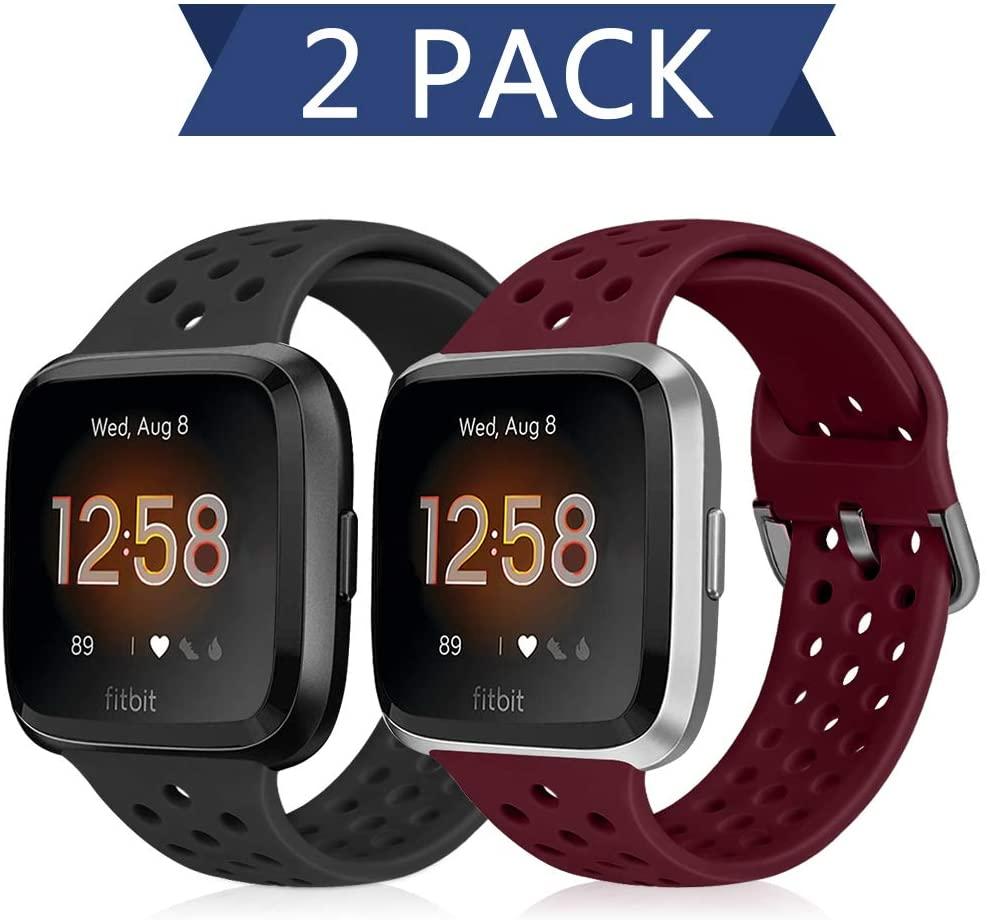 Runostrich Sport Band Compatible with Fitbit Versa 2/Fitbit Versa/Versa Lite/SE, Soft Silicone Strap Replacement Breathable Wristband Accessories for Women Men (Black+Dark Red)