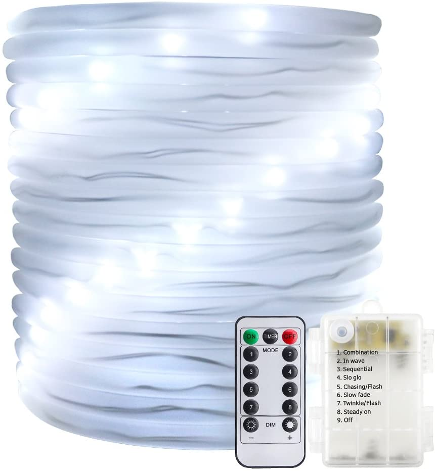 ER CHEN Remote&Timer Battery Powered Rope Lights,33FT 100 LED Warterproof Indoor&Outdoor Portable Rope String Lights for Christmas Tree, Wedding, Thanksgiving, Party, Garden, Patio(White)