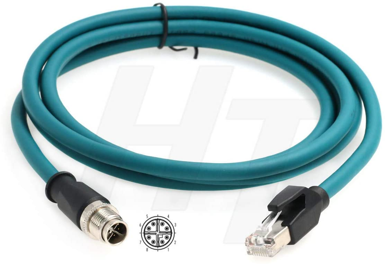 HangTon M12 Ethernet 8 Pole X-Code RJ45 Cable for Cognex Industrial Camera Sensor (2 Meter)