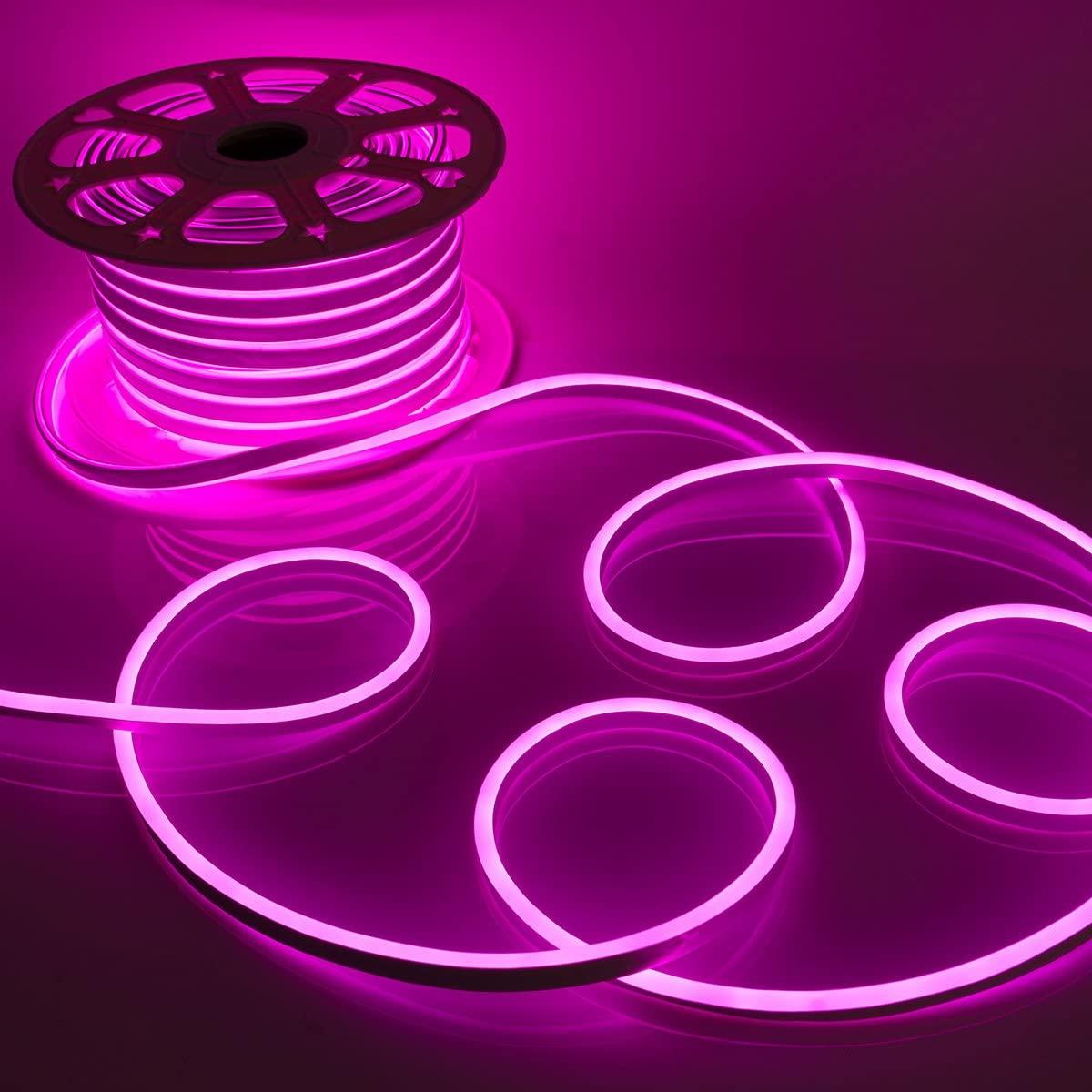 WYZworks Pink Flexible Waterproof Soft Single Side LED Neon Rope Light Strip Bar 50FT