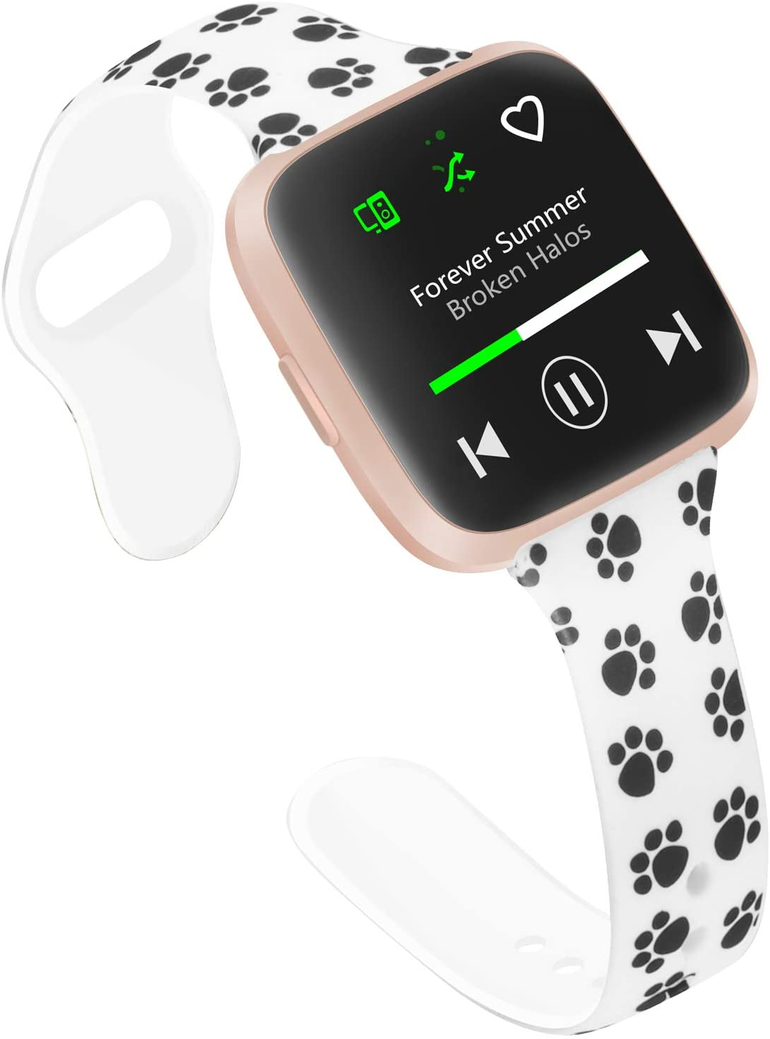 Slim Bands Compatible with Fitbit Versa 2 Women Small Large, Thin Pattern Flowers Leopard Silicone Writband for Fitbit Versa/Versa lite/Versa SE/Versa 2 (Large, White^Dog)