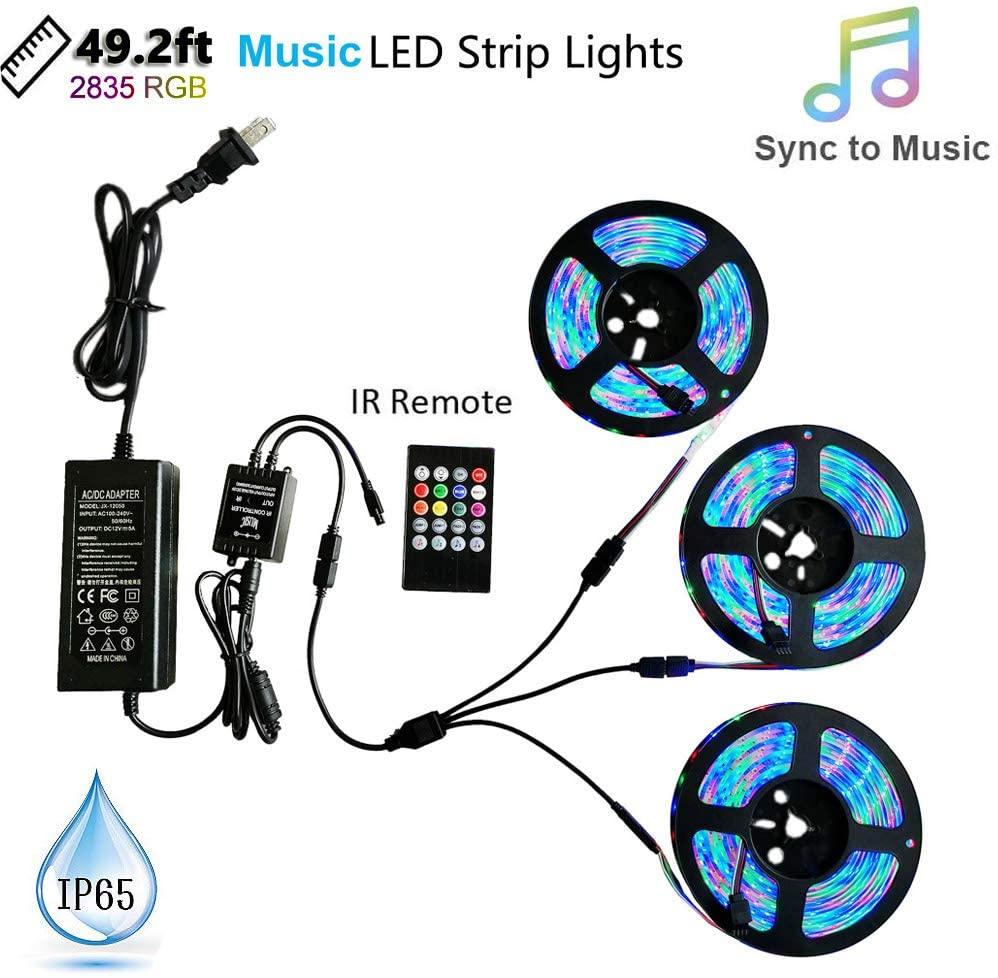 49.2ft 15M Led Strip Lights Kit, 20Key Remote Music Controller, RGB LED Lights Strips SMD2835 3 Pack 900LEDs, Waterproof IP65 Led Lights for Room Garden Party (No White Color)