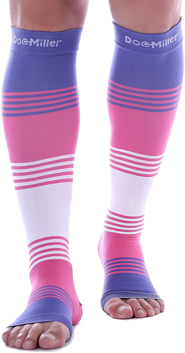 Doc Miller Premium Calf Compression Sleeve Dress Series 1 Pair 20-30mmHg Strong Calf Support Cute Toeless Socks Running Recovery Varicose Veins XL 2XL 3XL (Open Toe PinkVioletWhite, XX-Large)
