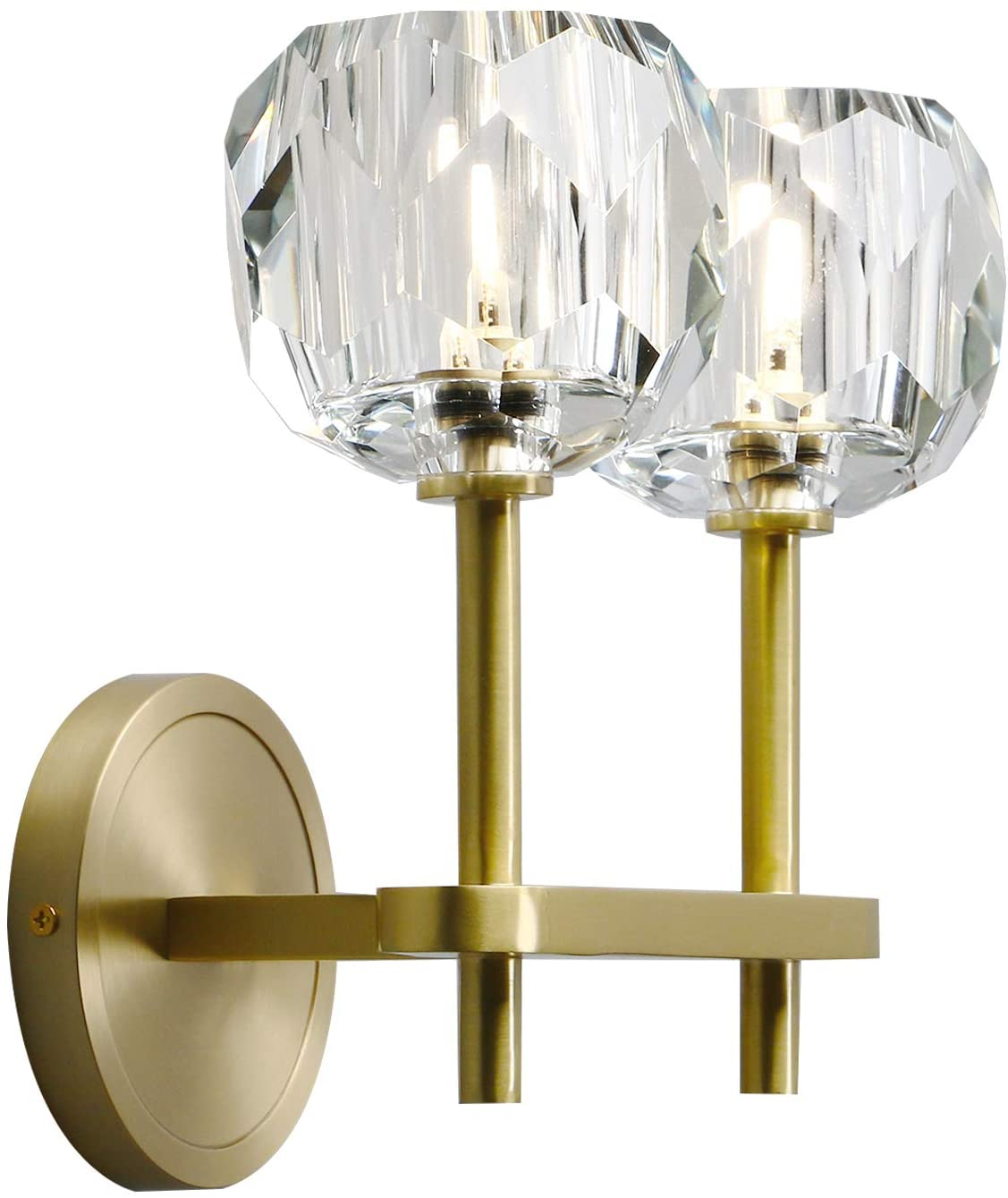 Phansthy 2 Light Sconce Antique Brass Bathroom Vanity Light with 3.9 Inches Globe Crystal Light Shade for Bedside Kitchen Bedroom Bathroom (2 Light)