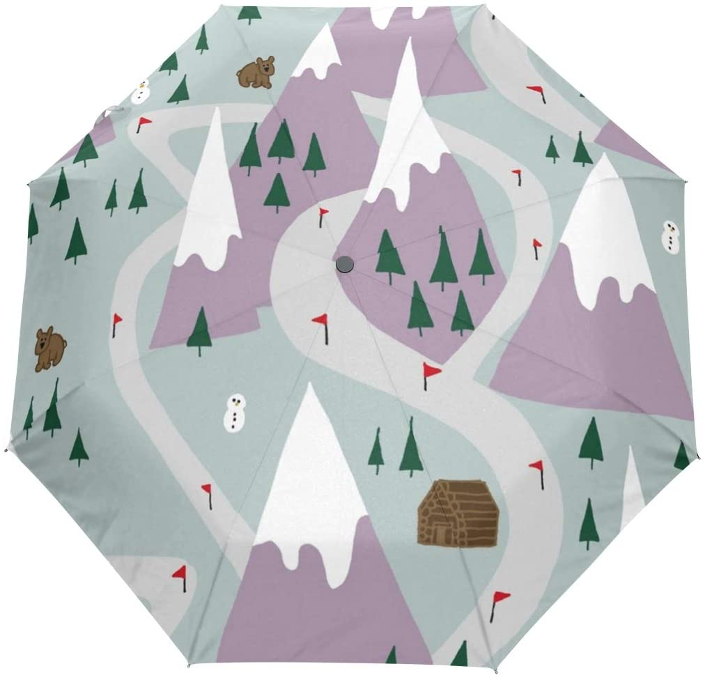 HLive Travel Umbrella Ski Skiing Mountains Auto Open Compact Folding Sun & Rain Protection Umbrella with UV Protection Windproof