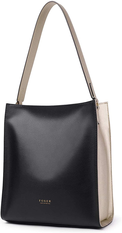 FOXER Women Designer Leather Handbag Tote Purses Shoulder Bucket Bags for Ladies