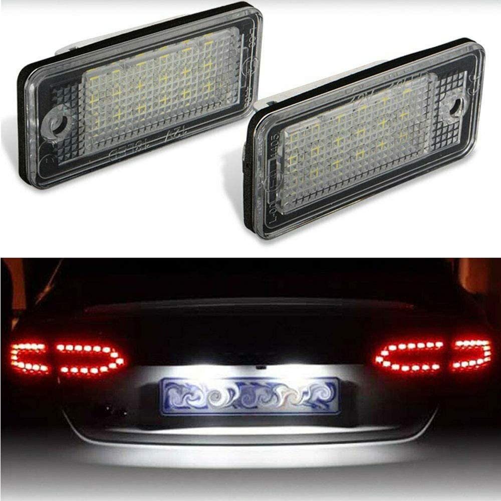 ARISMOTOR LED License Plate Tag Lights for Audi A3/S3/A4/S4/A5/A6/S6/A8/S8/Q7/RS4 (6000K Xenon White, Pack of 2)