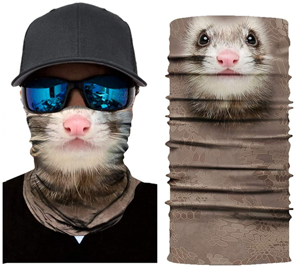 3D Animal Tube Gaiter Windproof Sun protection Face Bandanas for Outdoors Cycling Snowboard Scarf Neck