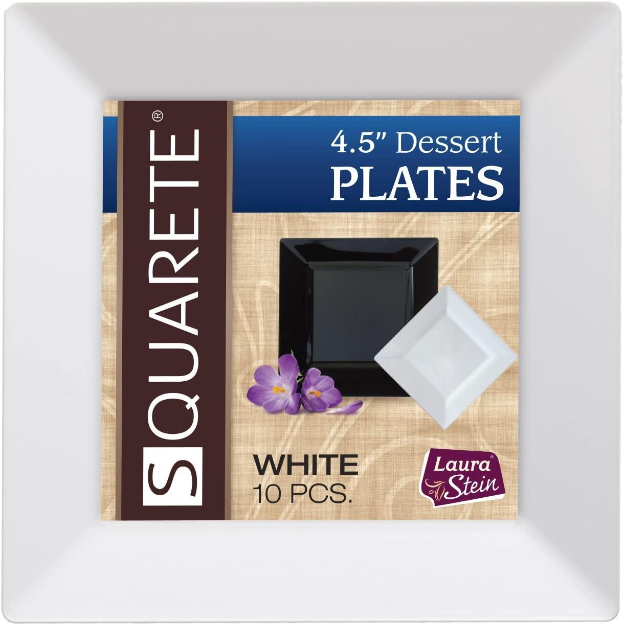 Squarete White Elegant Wedding Party Disposable Plates/Bowls (10 Pcs Per Pack) (3 Pack (30), 4.5
