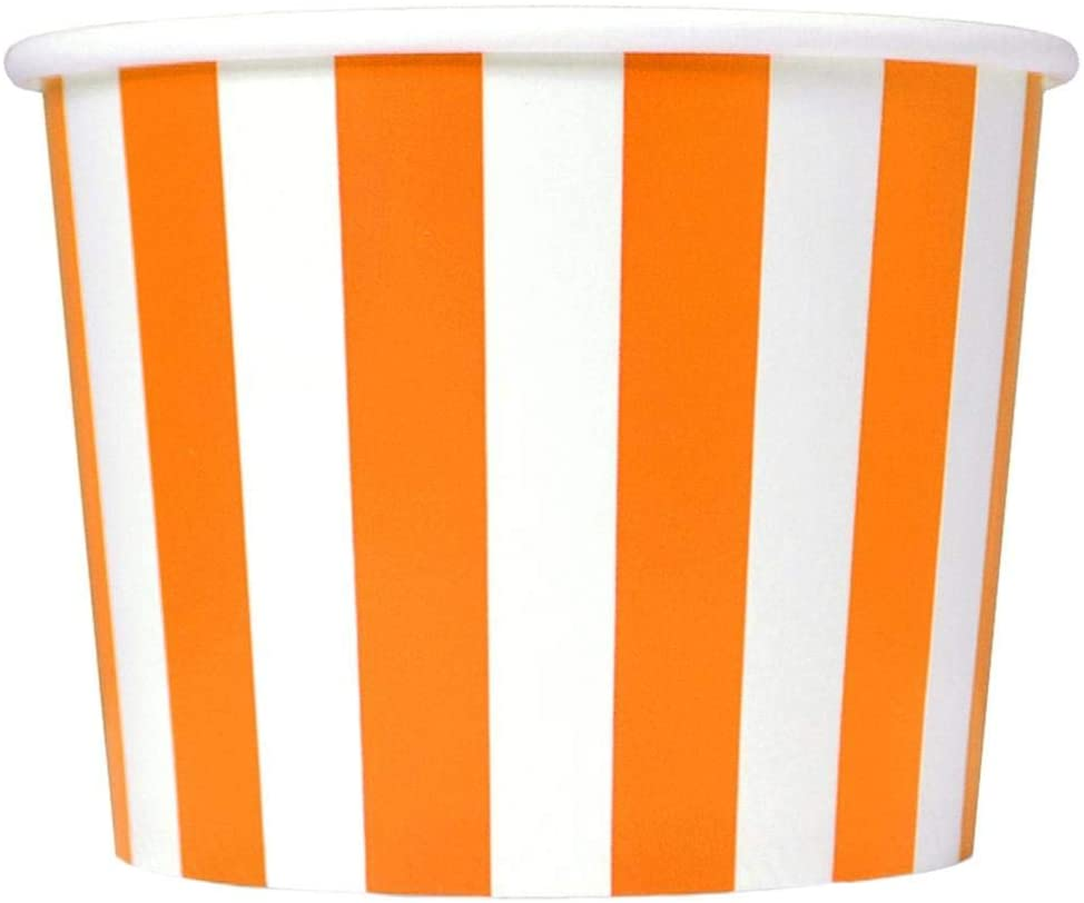 [50 Count] Orange Paper Dessert Cups - 12 oz Striped Ice Cream Bowls - Perfect For Your Yummy Foods! Many Colors & Sizes - Frozen Dessert Supplies