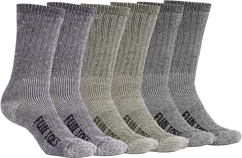 FUN TOES Men's Crew Merino Wool Socks 6 Pairs Winter Lightweight, Reinforced Size 8-12