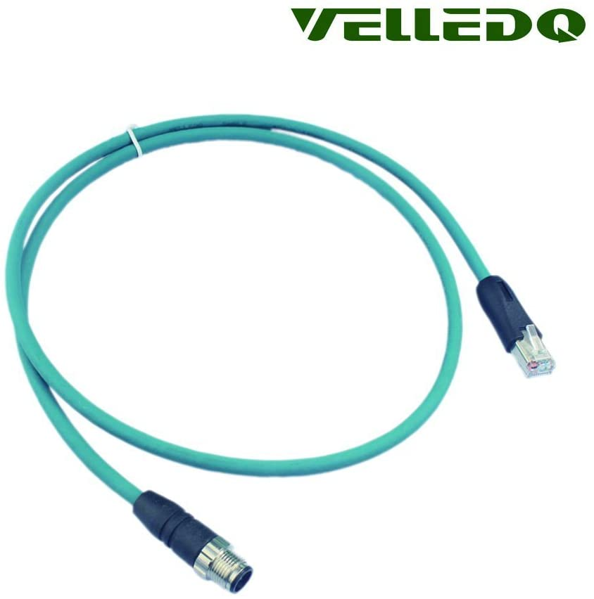 VELLEDQ Industrial Field-wireable M12 8-Pin Male to RJ45 Ethernet Plug Cable Assembly 3ft Shielded Patch Cord