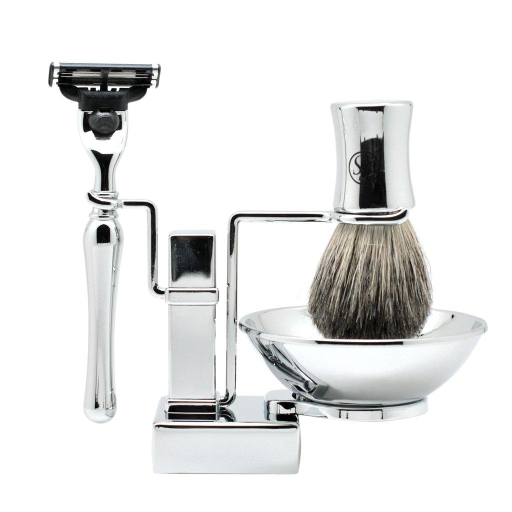 4 In 1 Shaving Set Shaving Kit Include Badger Hair Shaving Brush Shaving Bowl Mach 3 Razor And Metal Stand