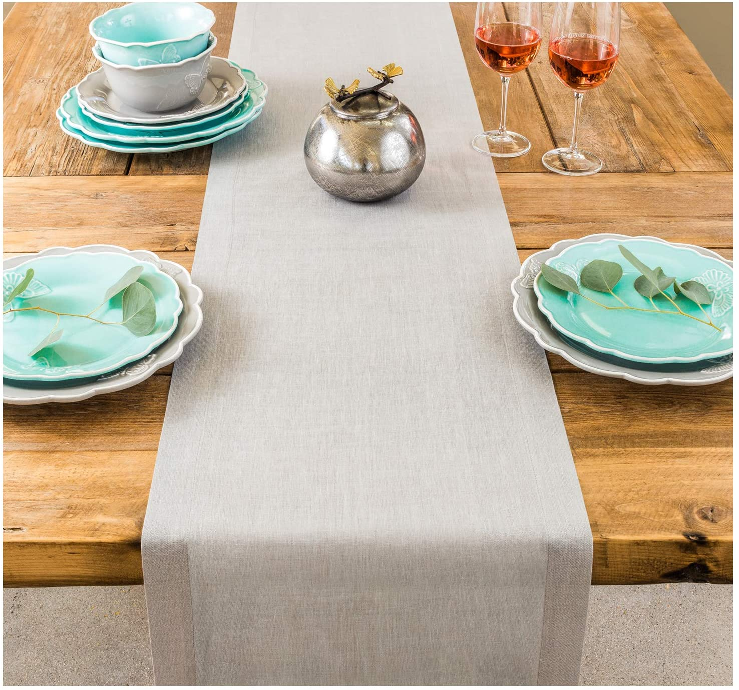 PROVIMO HOME Hemmed Table Runners (14 x 90 Inch, Cool Grey)