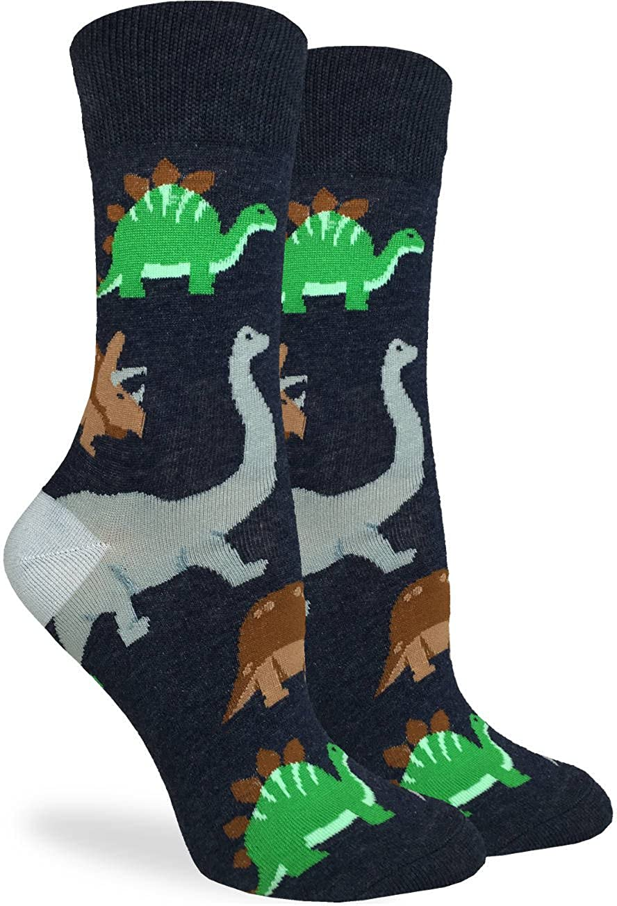 Good Luck Sock Women's Jurassic Dinosaurs Crew Socks - Black, Adult Shoe Size 5-9