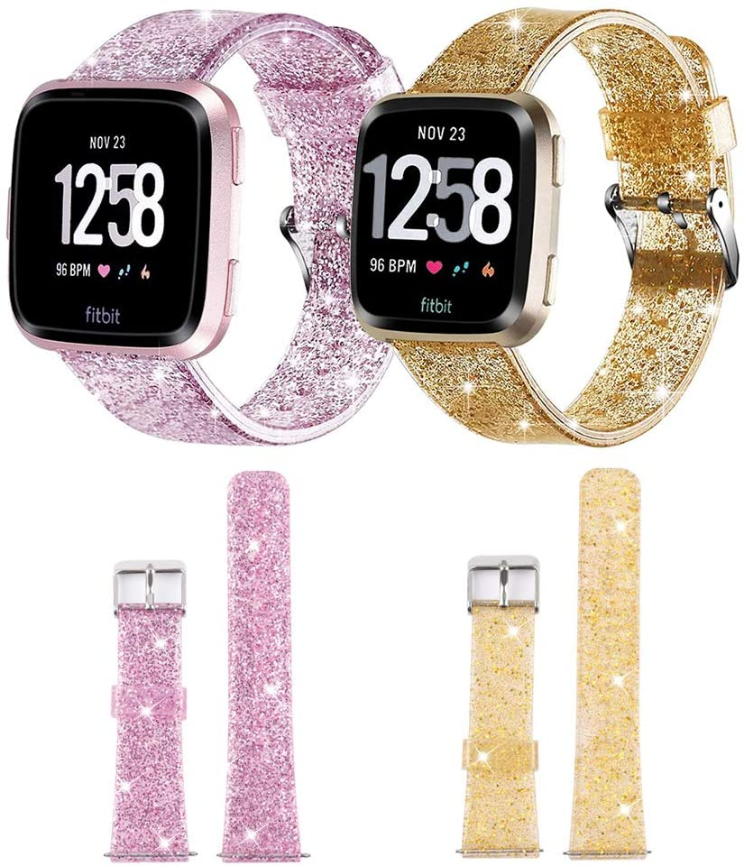 Smilego 2 Packs Bling Bands Compatible with Fitbit Versa/Versa 2 / Versa Lite/Versa SE, Soft Breathable Silicone Bling Glitter Watch Band Strap Wristband Replacent for Fitbit Versa Smart Watch