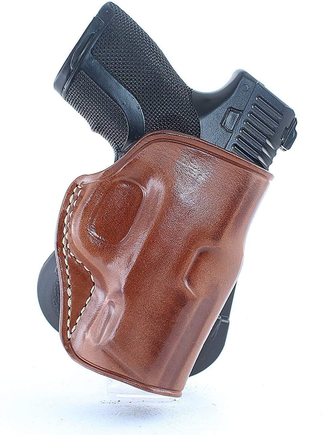 Premium Leather OWB Paddle Holster Open Top Fits S&W Shield .45 w/Thumb Safety 3.3''BBL, Right Hand Draw, Brown Color #1334#