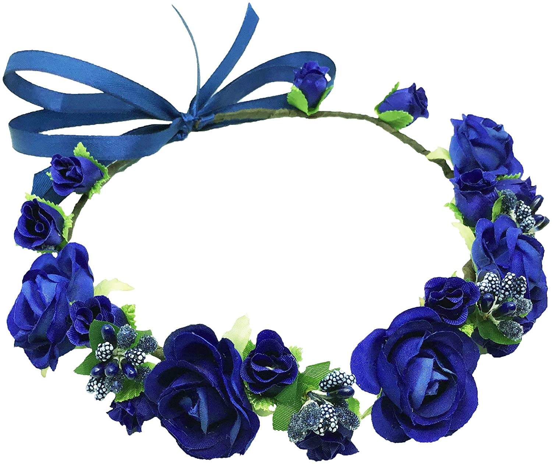 Flower Crown Girls Floral Headpiece - Artificial Royal Blue Roses Wedding - Bridal Boho Wreath Kids Toddler