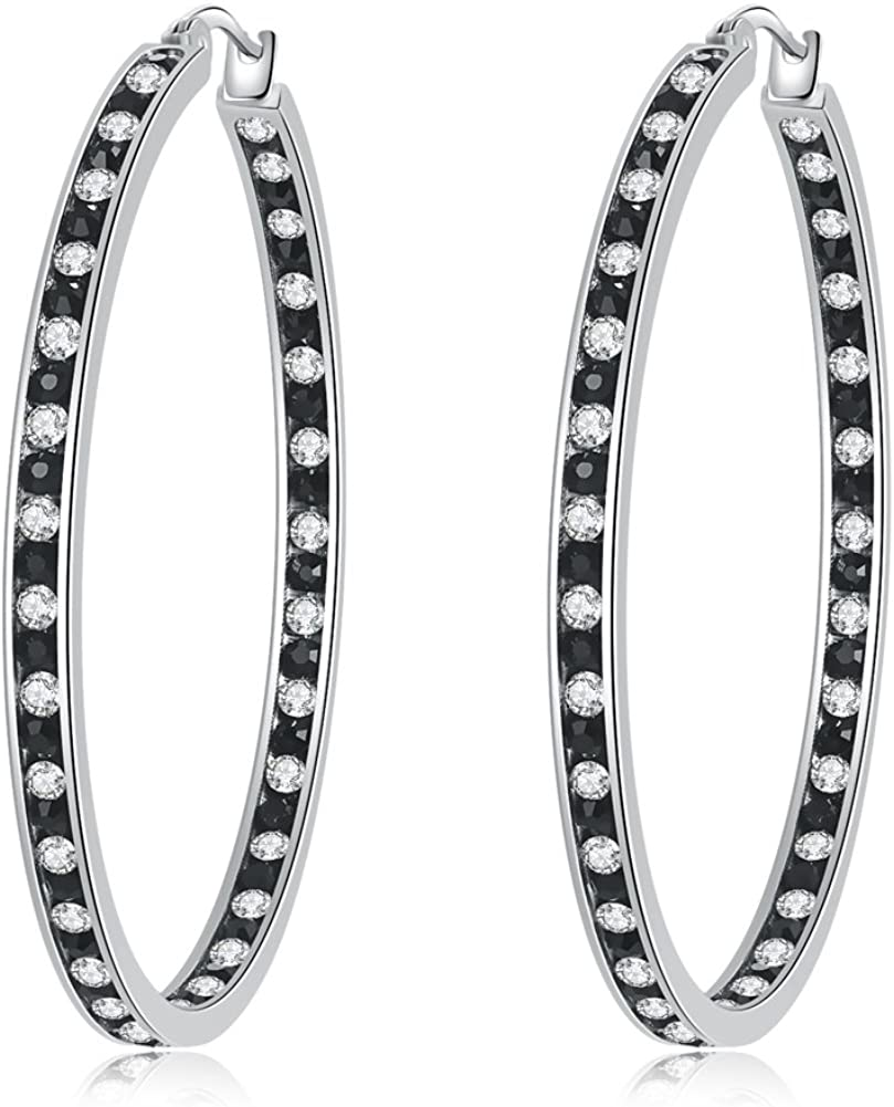 CiNily Mult-Colors Crystal Stainless Steel Hoop Earring for Women Hypoallergenic Jewelry for Sensitive Ears Large Big Hoop Earrings 2