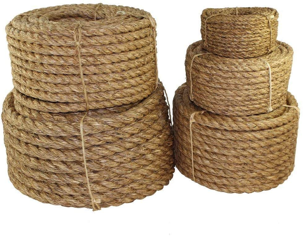 SGT KNOTS Manila Rope   Size 1/4-3 inch   Length 10-1200 ft   Tan Rope/Brown Rope - Twisted Manila 3 Strand Natural Fiber Cord   Ropes for Indoor and Outdoor Use   1.25 inch x 400 feet