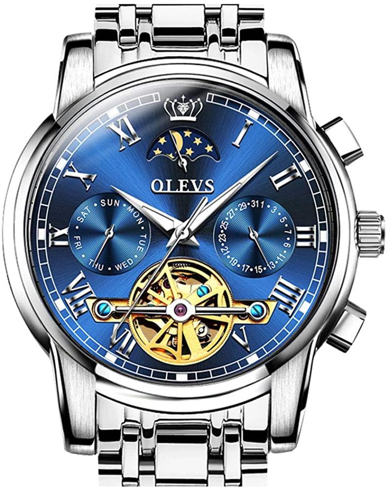 OLEVS Automatic Mechanical Men Watch Tourbillon Moon Phase Stainless Steel Dress Fashion Business Luminous Waterproof Date Week Male Wrist Watch
