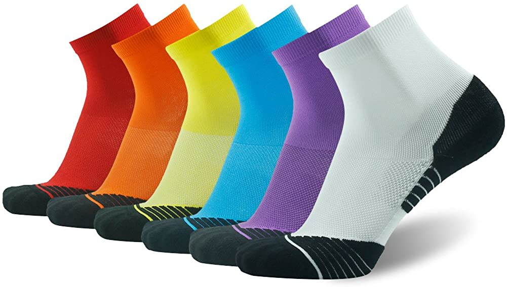 HUSO Mens Tennis Socks, Performance Sports Ankle Compression Socks 4, 6 Pairs