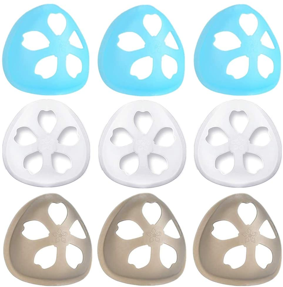 3D mask bracket self made cloth mask inner support frame Lipstick Protector Protection for nose mask face shield can Increase Breathing SpaceTransparent reusable (Black 3 white 3 blue 3)