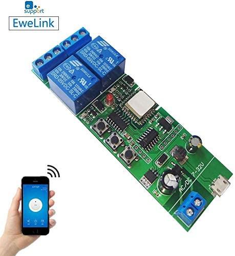 Newgoal Wireless Jog Relay momentary/self-Locking Switch Module DIY Smart Home Remote Control WiFi Relay Switch Ewelink App Compatible with Alexa Echo Google Home IFTTT (DC2)