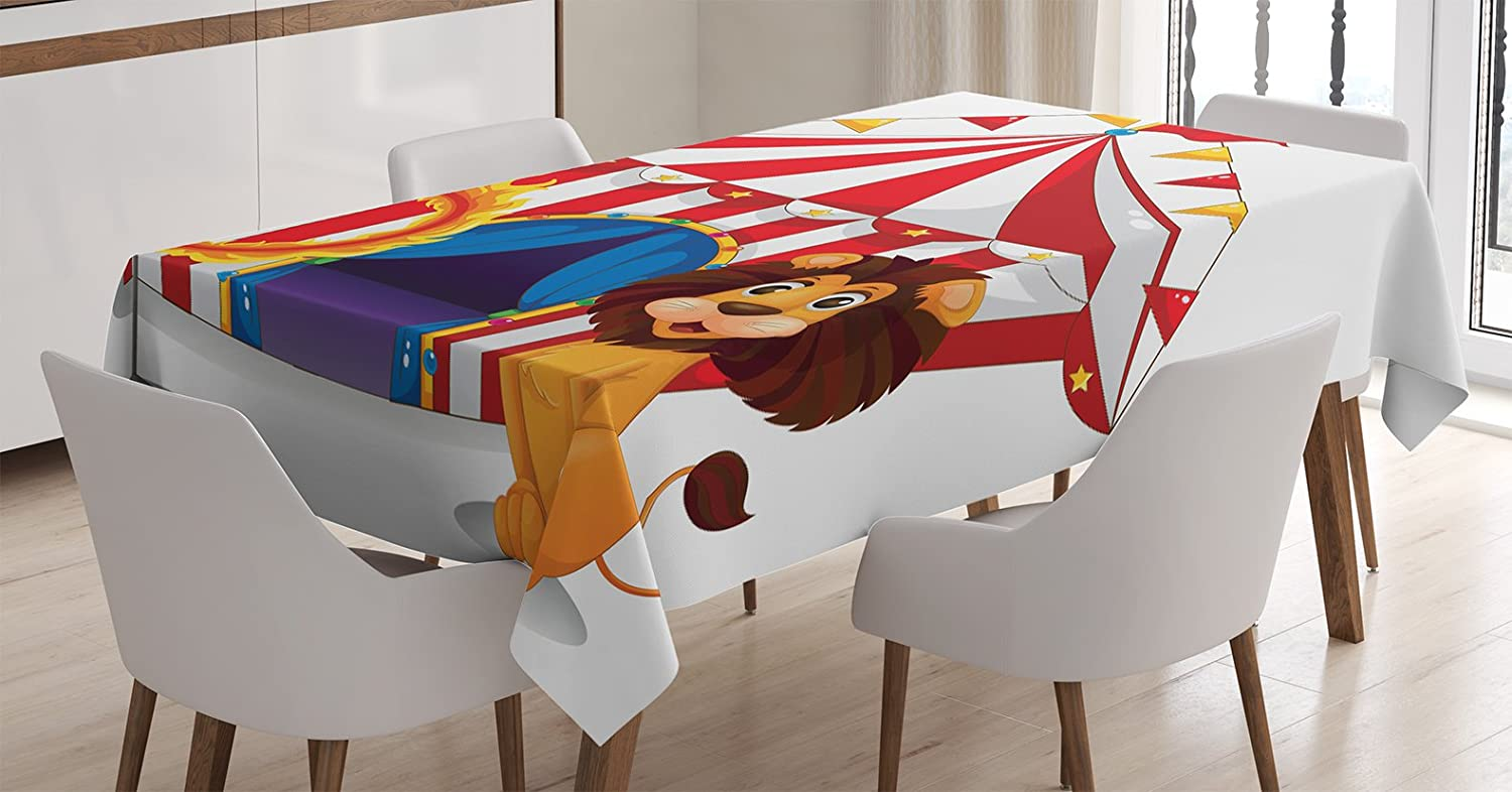 Ambesonne Circus Tablecloth, Lion and a Fire Ring in Front of The Circus Tent Blazing Flame Adventure Dangerous, Dining Room Kitchen Rectangular Table Cover, 60