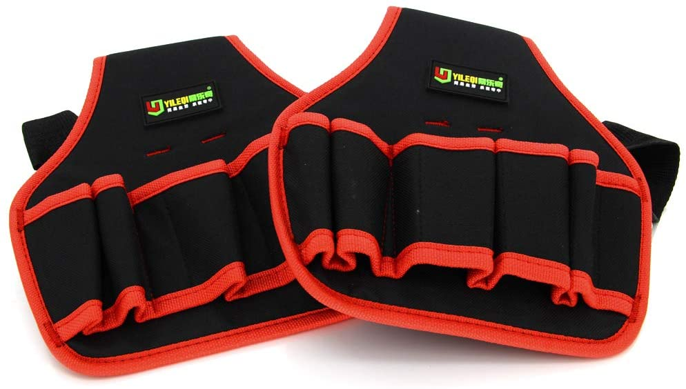 Utoolmart Professional Oxford Canvas Tool Pockets, Fully Adjustable Waterproof & Protective Work Belt Red Edge Y3 2Pcs