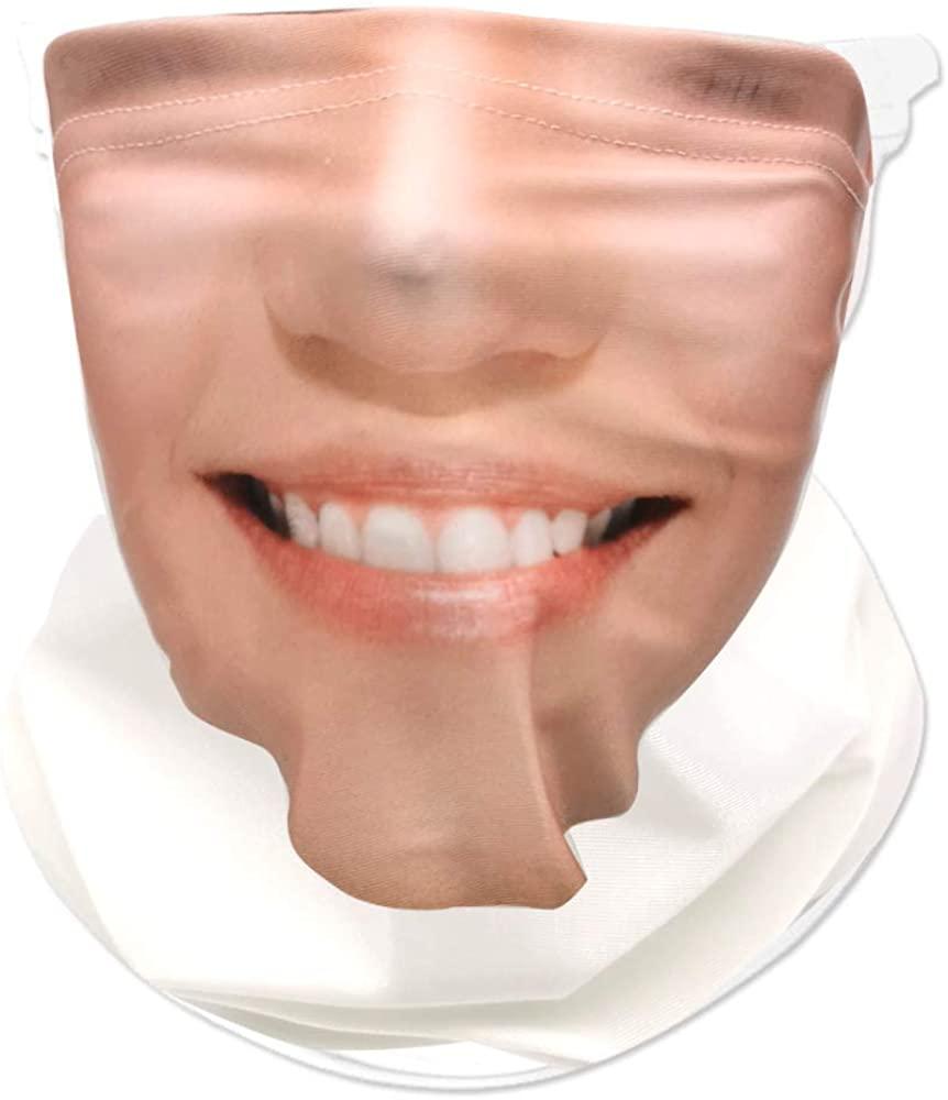 Funny Face Mask for Women Bandana, Reusable Face Covering Mask, Neck Gaiters for Women Half Face UPF 50+, Bandana, Balaclava, Gaiter Mask, Motorcycle Face Mask- Smile Women