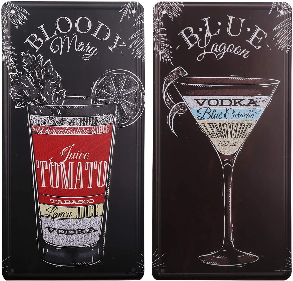 HANTAJANSS Blue Lagoon Bloody Mary Plate Metal Sign 2 Pack, Retro Vintage Tin Signs for Car Plate Cover, Pub, Beach, Bar, Store, Home Decoration
